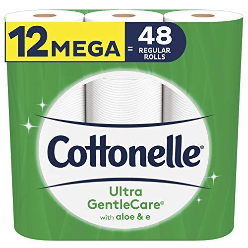 Cottonelle Ultra GentleCare Toilet Paper, 12 Mega Rolls, 4 Pack, 48 Total Mega Rolls, Sensitive Bath Tissue with Aloe & Vitamin E