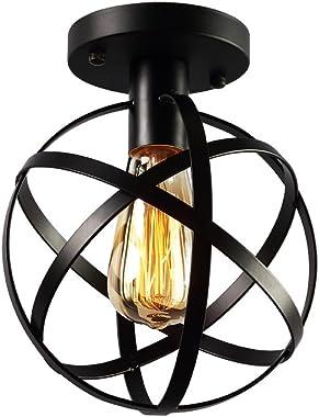 KOONTING Vintage Industrial Flush Mount Ceiling Light, Metal Spherical Ceiling Lamp Light Fixture for Hallway Stairway Porch