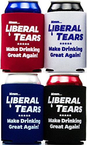 Liberal Owning, Republican Supporting Liberal Tears Drink Insulators 4 Pack in Black, Red, White, and Blue. The Perfect Anti Democrat Stocking Stuffer for Dad and Other Conservatives this Christmas.