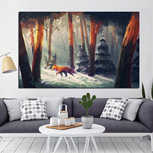 Wandkunst Rotfuchs Waldlandschaft Tierölgemälde Druck auf Leinwand Wandbild Poster Wohnzimmer Dekor 30x45cm
