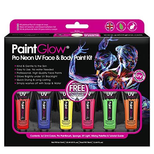 PaintGlow Neon UV Face Paint Box Set UV Glow Neon Face...