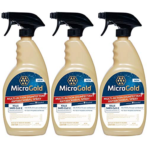 MicroGold Multi-Action Disinfectant Antimicrobial Spray Tested and Proven Effective to Kill the COVID-19 Virus, Kills 99.9% of Viruses and Bacteria, Made in the USA, 24 Ounces, 3-Pack