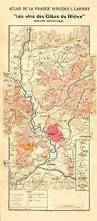 RHÔNE WINE MAP South. Châteauneuf-du-Pape, Tavel & Côtes du Rhône. LARMAT - 1943 - old map - antique map - vintage map - printed maps of France