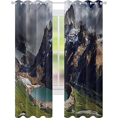 Cortinas opacas para ventana, Mount Fitz Roy y Laguna Torre Los Glaciares, Parque Nacional Patagonia Argentina, 52 x 108 cortinas opacas para dormitorio, multicolor