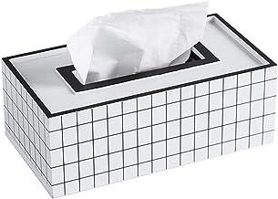 Cabilock Houten Tissue Box Desktop Servet Case Huishoudelijke Papier Opbergdoos voor Thuis Woonkamer (Zwart + Wit Rooster)...