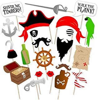Pirate Photo Booth Props DIY Kit Dress-up Accessories for Fun Reunions Birthdays Family Party, 22 pieces