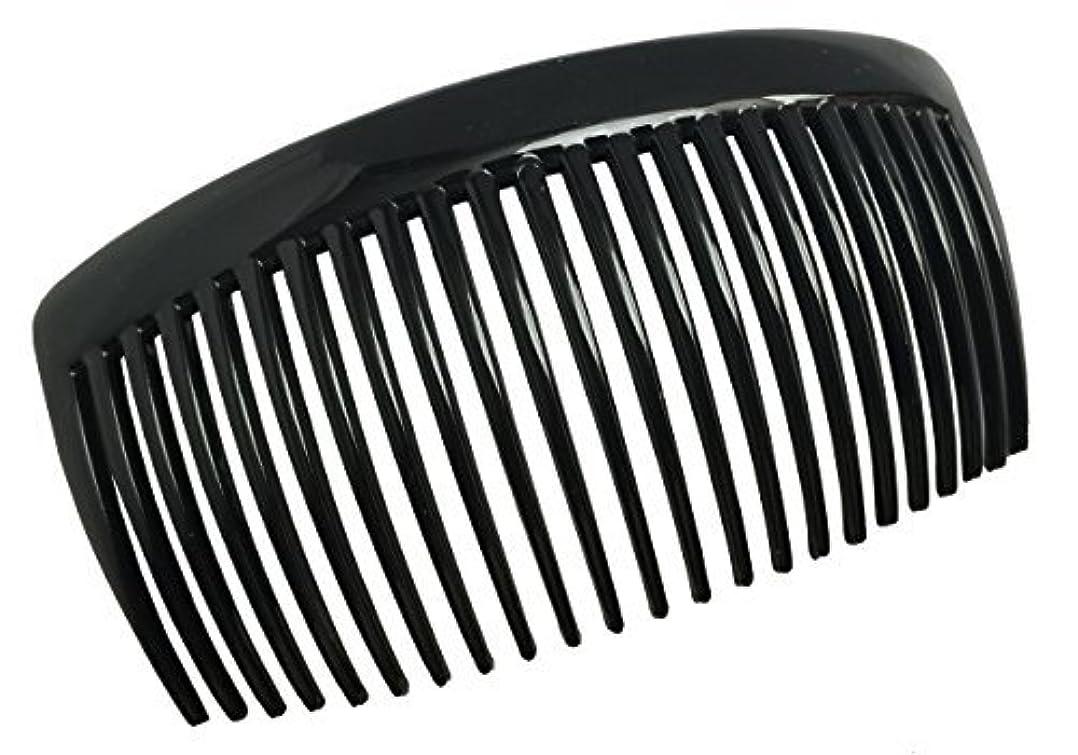 毎月続ける生産性Parcelona French Large 2 Pieces Glossy Black Cellulose Acetate Good Grip Updo 23 Teeth Hair Side Combs 4.25 Inches [並行輸入品]