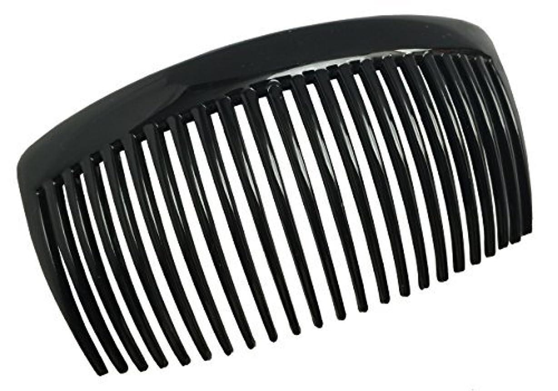円形のメタリック息切れParcelona French Large 2 Pieces Glossy Black Cellulose Acetate Good Grip Updo 23 Teeth Hair Side Combs 4.25 Inches [並行輸入品]