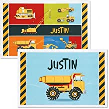 Lillian Vernon Personalized Kids Construction Placemat - 11 x 17 Boys Reversible Place mat, Laminated