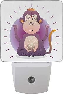 2 Pack Plug-in LED Night Light Lamp Buddha Monkey Printing with Dusk to Dawn Sensor for Bedroom, Bathroom, Hallway, Stairways, 0.5W