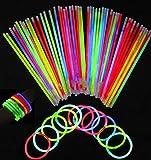 San Jison 100pcs 8' Palo de Luz Partido Pulseras Luminosas con los Pulsera Conectadores 100pcs Kits para Crear Pulseras triples, Bola Luminosa