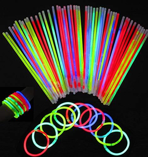 San Jison Pacco di 100 Barre Luminose per Party, Braccialetti Fluorescenti Luminosi con 100 connettori Braccialetto per la Festa, Compleanno