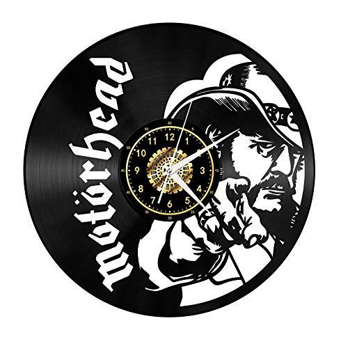 Xiayanmei Motörhead Vinyl Record Wanduhr Fan-Kunst-Dekor Originelles Geschenk Einzigartige Dekorative Vinyl Clock Schwarz 12