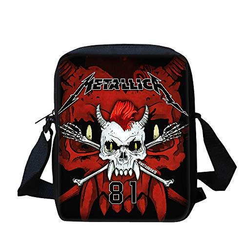 Metallica Hohe Kapazität Umhängetasche Trendy Design Crossbody Bag Travel Messenger Bag Umhängetasche Messenger Bags Mode Klassische Crossbody Bag Kinder (Color : A05, Size : 25 X 20 X 5cm)