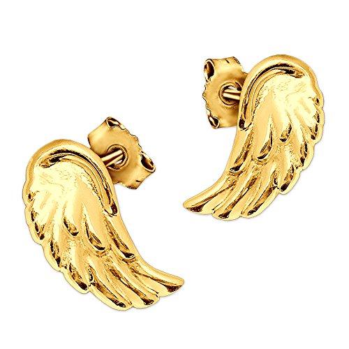 Clever Schmuck Gouden elegante kleine oorstekers mini vleugels 8 x 4 mm plastic vorm en glanzend gepolijst 333 goud 8 karaat