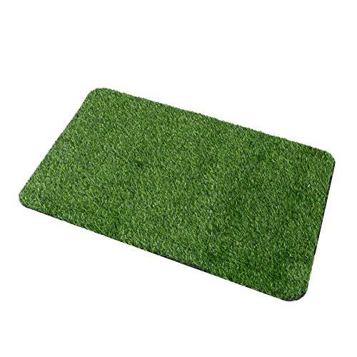 DOITOOL Alfombra de césped artificial para interiores y exteriores, césped verde, para uso múltiple, para entrada en casa, raspador, felpudo para perros, tamaño L