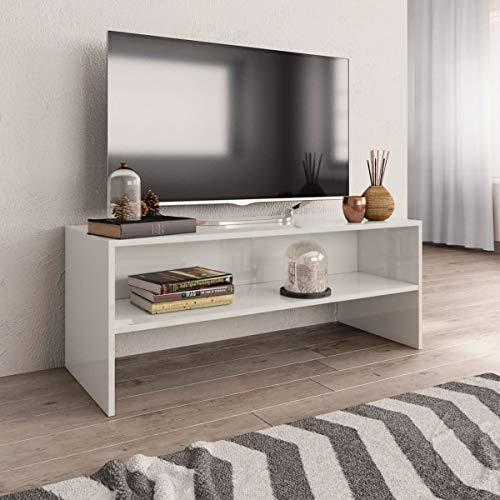 BNT Flamingo Mueble de TV aglomerado Blanco Brillante 100x40x40 cm