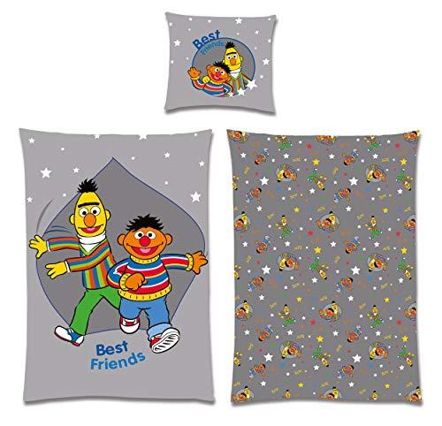 Sesamstrasse Bettwäsche 200 x 135, 80 x 80, 100% Baumwolle, 60 Grad waschbar, Ernie und Bert mit Sternen