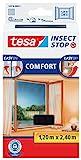 tesa Insect Stop COMFORT pour Porte-Fenêtres - Moustiquaire avec Ruban Auto Agrippant - Filet Anti-Moustique - Anthracite, 120 cm x 240 cm