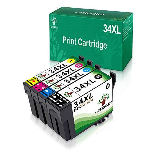 GREENSKY Kompatibel Epson Druckerpatronen 34 34XL, Patronen für Epson Workforce Pro WF-3725DWF WF-3720DWF, XL-Patronen Multipack 4-Farbig(1 Schwarz, 1 Cyan, 1 Magenta, 1 Gelb)