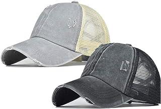 قبعات ذيل الحصان المهترئ قبعات البيسبول للنساء القطن الأسود قناع الشعر الطبيعي