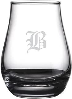 Old English Etched Monogram Spey Dram Whisky Tasting Glass (Letter B)