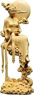 繁樓藝雕 月の神 嫦娥 置物 木彫り 中秋 天女像 中国神話人物 手作り 美術品 中秋の贈り物 (高さ18cm×巾6cm×奥行7.5cm)