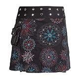 Vishes - Alternative Bekleidung - Damen Wickel-Rock Bedruckt Bestickt Blumen Mandala Gürtel-Tasche schwarz 34-40