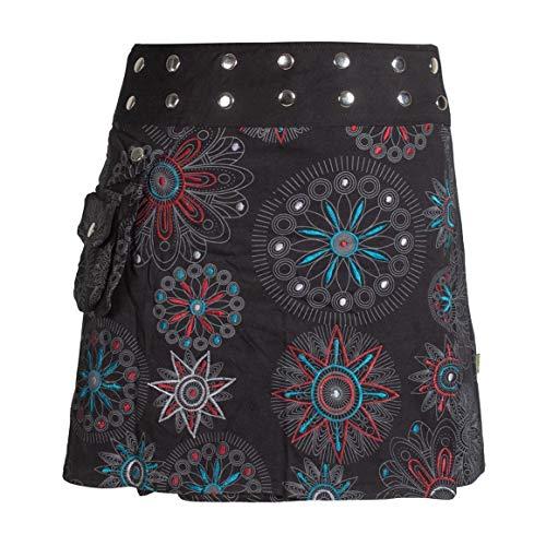 Vishes - Alternative Bekleidung - Damen Wickel-Rock Bedruckt Bestickt Blumen Mandala Gürtel-Tasche schwarz 40-44