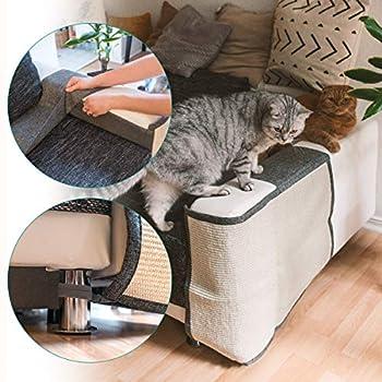 Navaris Tapis griffoir Chat - Protection côté Gauche canapé Meuble Sol Mur - Tapis en sisal et Lin 60 x 50 cm adapté pour Chaton Chien