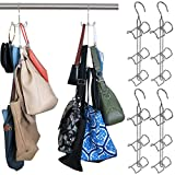Evelots Purse Handbag Closet Organizer-Hanging-Chrome Finish-24 Hook Total-Set/4