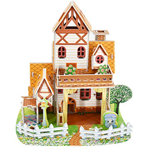 IKevan_ 3D DIY Paper Puzzle Princess Castle Model Cartoon House Assembling Building Toy Early Learning Toy for Kids Children (B)