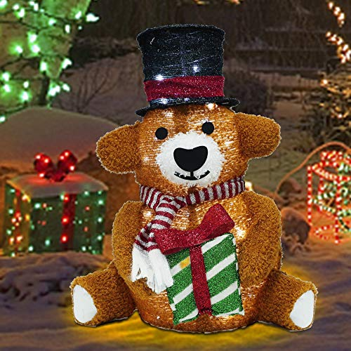 Lulu Home Christmas Collapsible Brown Bear Decoration, 24 Inch 48 LED Christmas Lighted Brown Bear Ornaments with Clear Lights, Plug-in Christmas Light Up Brown Bear Indoor Outdoor Yard Holiday Decor