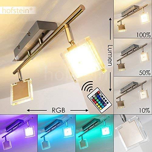 LED Deckenleuchte Parnu, dimmbare Deckenlampe aus Metall in Nickel-matt, 2-flammig mit verstellbaren Leuchtenköpfen, 2 x 4 Watt, 640 Lumen insgesamt, 3000 Kelvin, mit Farbwechsler u. Fernbedienung