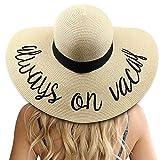 DRESHOW Sombrero de mujer con ala ancha Straw Panama Roll up Sombrero de playa Fedora UPF50 +