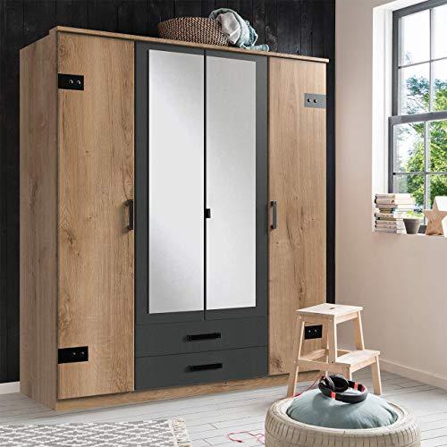 lifestyle4living Kleiderschrank mit Spiegel, Planken Eiche Dekor, Graphit-Grau, 180 cm | Drehtürenschrank 4 türig mit 2 Schubladen im Industrial Stil