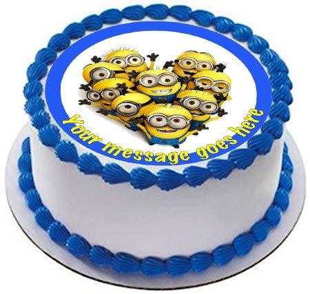 Decoración comestible para tarta de Minions19 cm con glasea