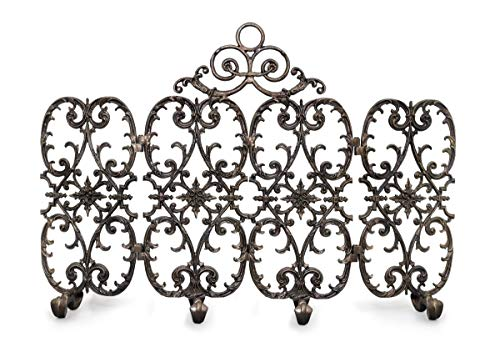 %25 OFF! Ornamental Designs 4-Panel Siena Fireplace Screen with Arch - Bronze
