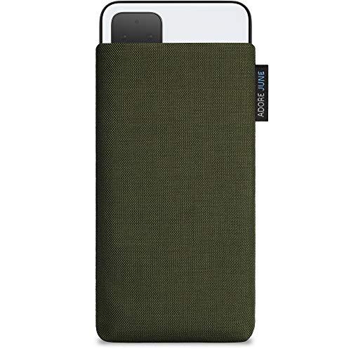Adore June Classic Oliv-Grün Tasche kompatibel mit Google Pixel 4 XL Handytasche aus widerstandsfähigem Cordura Stoff mit Display Reinigungs-Effekt, Made in Europe