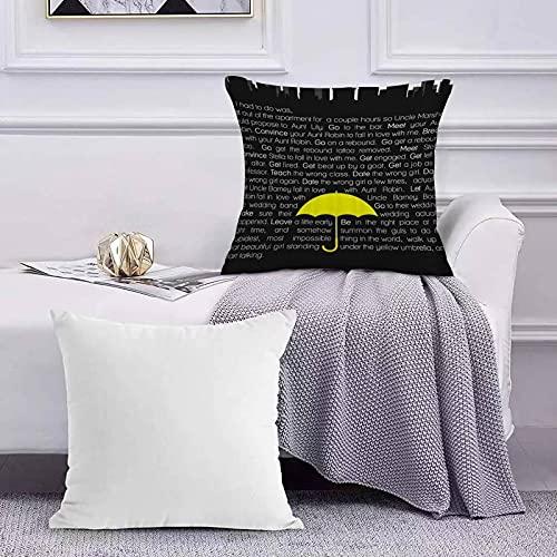 Funda de Cojín Funda de Almohada del Hogar Paraguas temático Negro Amarillo con Las Palabras Blancas Sofá Throw Cojín Almohada Caso de la Cubierta para 45x45cm