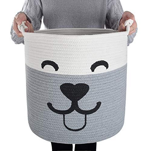 CAMBODRA Pet Toy Basket Storage - Smiley Face Dog Cotton Rope Laundry Basket Blanket Storage Bin Dog Toy Storage Box Woven Living Room Organizer Bins 15
