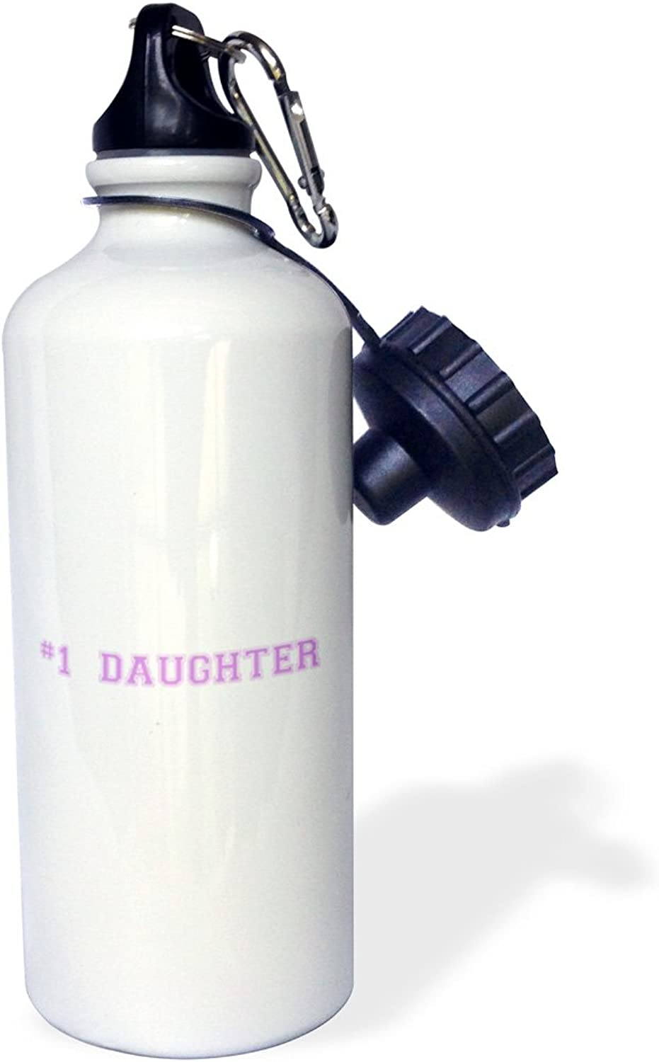 3dpink wb_151605_1   1 DaughterNumber One Daughter for worlds greatest and Beste daughterspink purple text  Sports Water Bottle, 21 oz, White