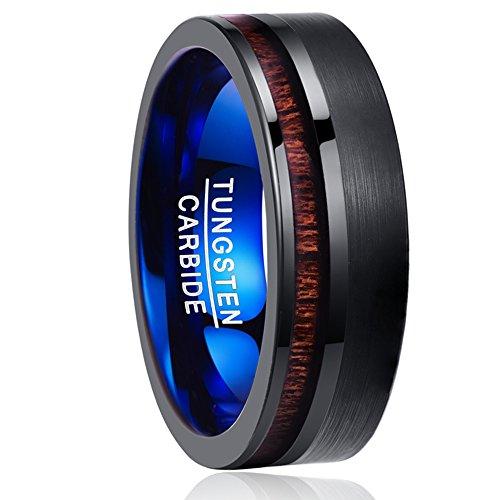 NUNCAD Herren Damen Unisex Ring aus Wolfram Schwarz & Blau 8mm mit Holz für Hochzeit Verlobung Fashion Lifestyle Größe 59 (19)