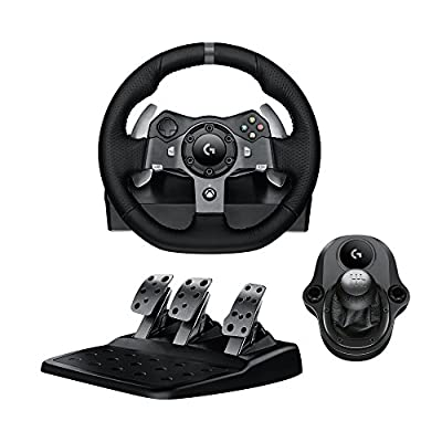 Logitech G920 Driving Force Racing Wheel & Pedals Plus Gear Shifter Bundle (Xbox One & PC) UK-Plug
