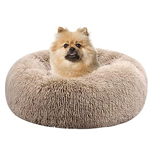 Sayiant Haustierbett Rundes Plüsch katzenbett flauschig Tragbare Warme Weiche Bequeme Hundesofa für Haustiere/Welpen/Haustier/Katzenbett in Doughnut-Form 50CM (Braun)