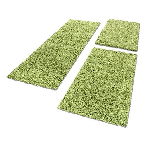 Bettumrandung 3.Tlg Läufer-Set 50 mmFlorhöhe Hochflor Shaggy Carpet ÖKO TEX 4000, Farbe:Grün, BettSet:2 x 65x130 + 1 x 80x150