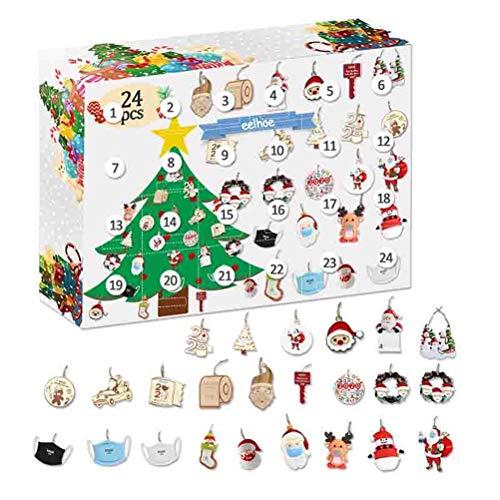 Roexboz Christmas Advent Calendar Hanging Ornaments Christmas 24 Days Countdown Calendar for Christmas Tree Decoration