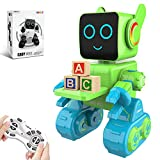 HBUDS Robots for Kids, Remote Control Robot Toy Intelligent Interactive Robot LED Light Speaks Dance Moves Built-in Coin Bank Programmable Rechargeable RC Robot Kit (Green)
