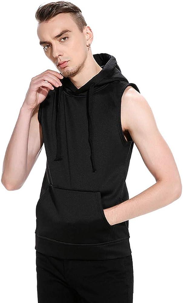 QPNGRP Classic Men's Casual Drawstring Pullover Vest Max 50% OFF Hoodie Sleeveless