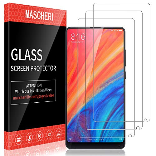 MASCHERI Protector de Pantalla para Xiaomi Mi Mix 2s / Mi Mix 2, [3-Unidades] Cristal Vidrio Templado Glass Screen Protector para Xiaomi Mi Mix 2s / Mi Mix 2-Transparente